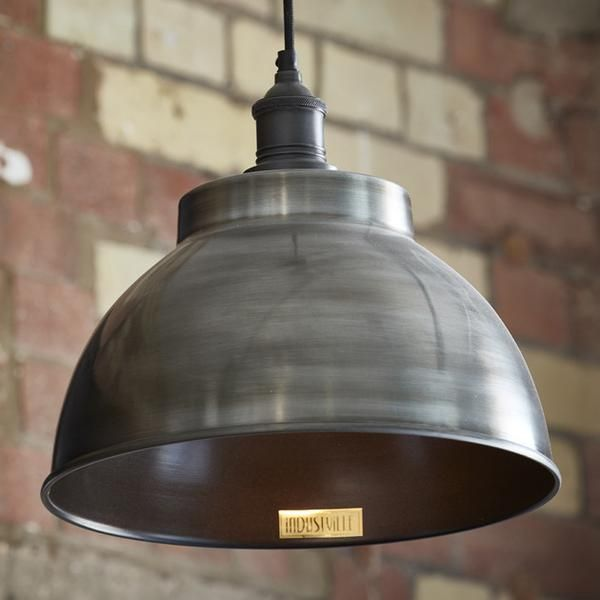 Brooklyn Vintage Metal Dome Pendant Light   Dark Pewter   13 Inch