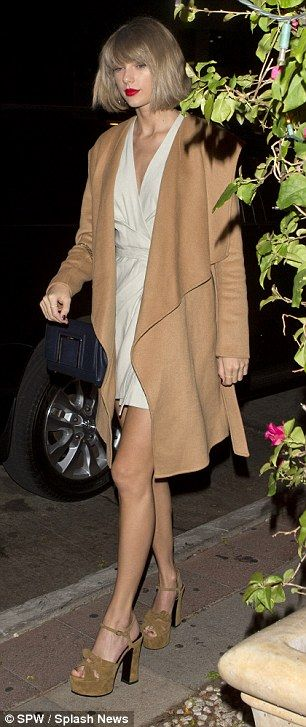 The 26-year-old was spotted heading to an Italian restaurant in sky high heels, putting her legs on display