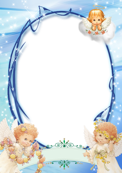 Transparent Blue PNG Frame with Angels | ❤️frames❤ | Pinterest ...