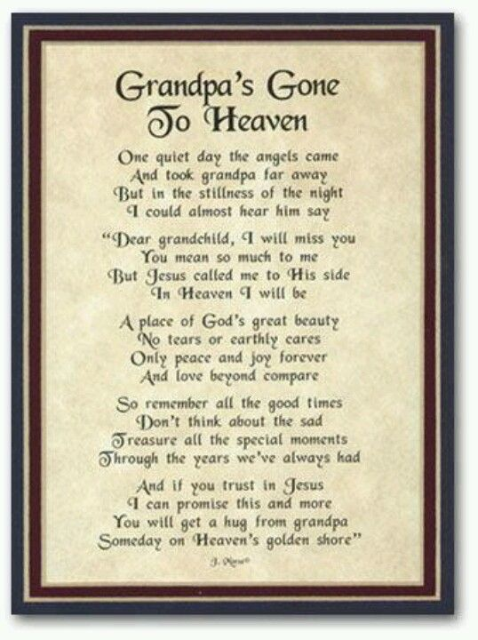 Grandpa's Gone to Heaven | Thoughts of those n Heaven ...
