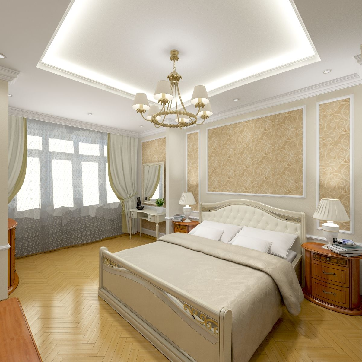 Luxury bedroom designed in Russian style. Spacious, with gorgeous ...
