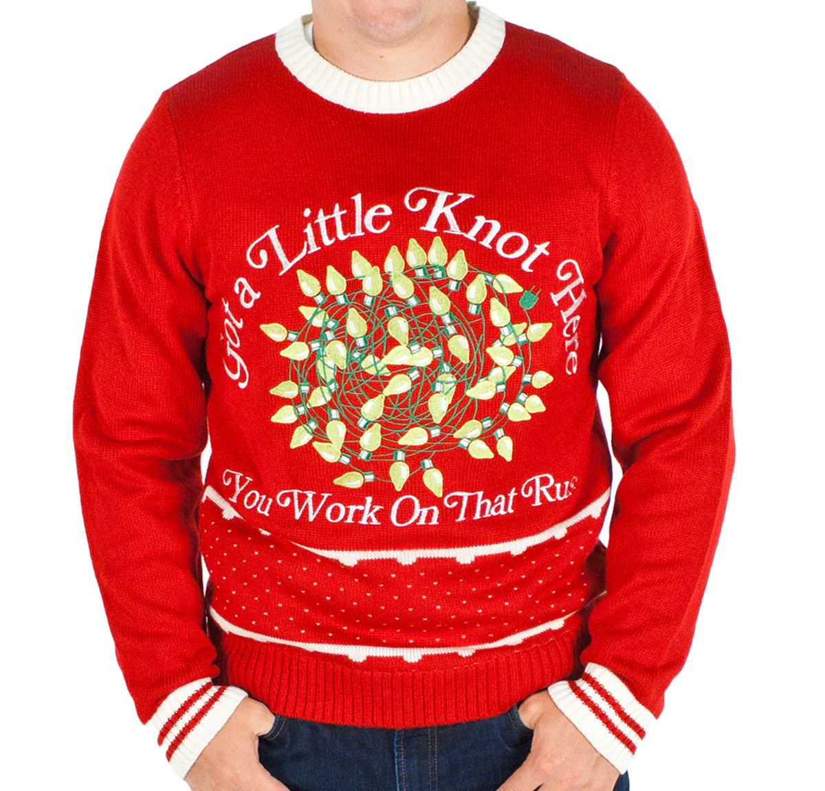 Festified Mens Christmas Vacation Lighted Got A Knot Here Russ Sweater Red Festified Uglychristmassweater Christmasvacation