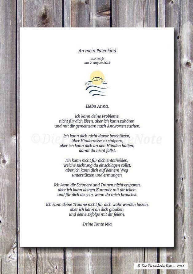 Der Patenbrief Bzw Der Brief Des Taufpaten An Den Täufling