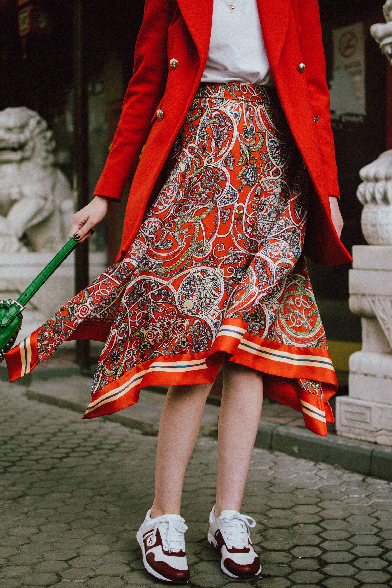 1a2fde4abeb0 Zara double breasted long orange blazer, h&m patterned orange  asymmetric midi skirt,