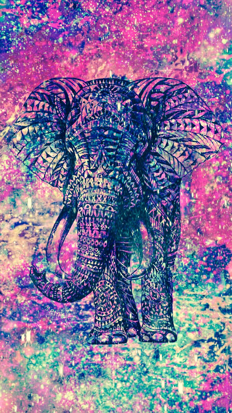 Hipster galaxy elephant wallpaper my wallpaper creations - Elephant background iphone ...