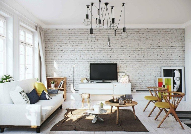 Id e d co salon le salon en style scandinave idee deco salon style scandinave et mur en brique for Idee decoration d interieur