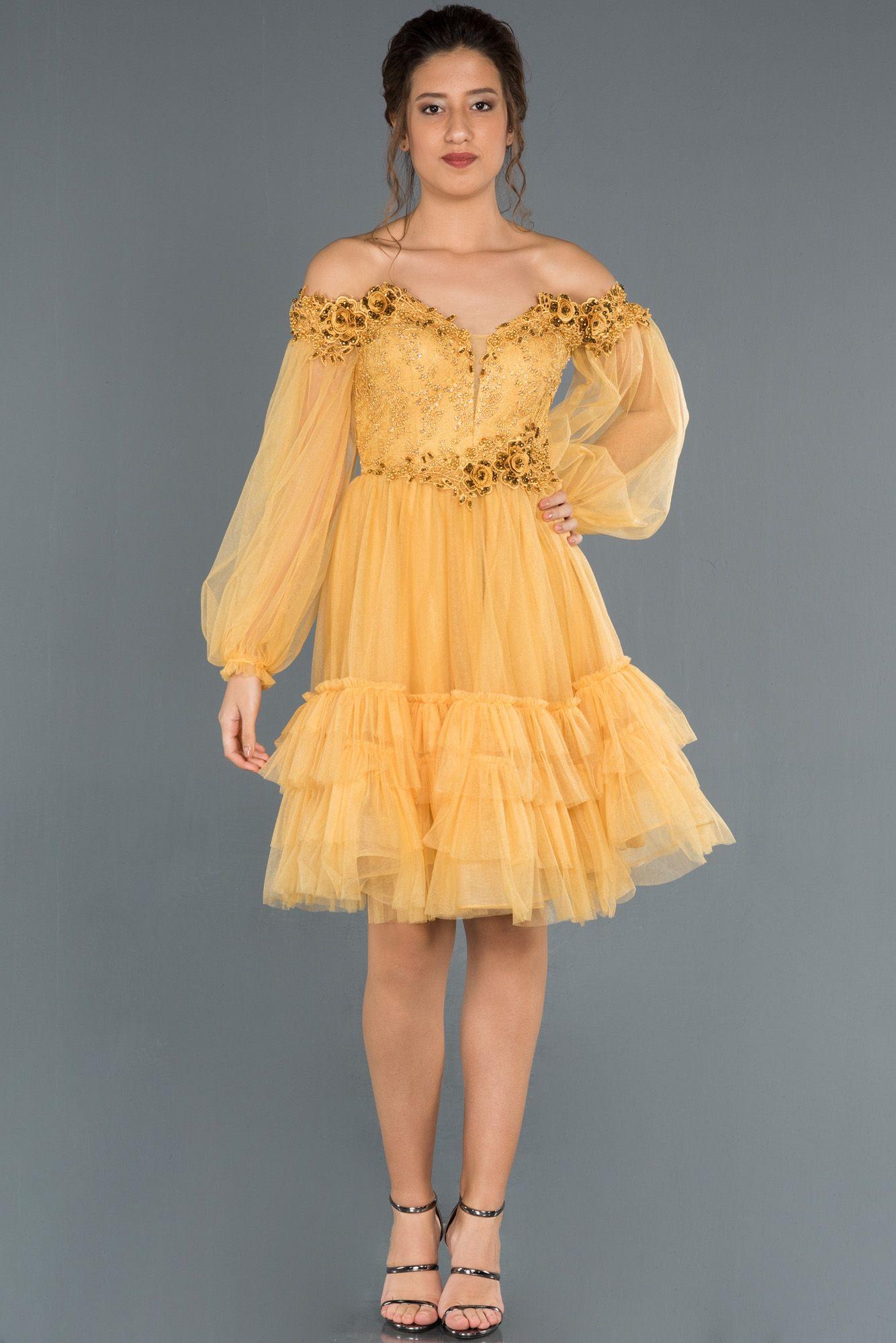 Sari Balon Kol Islemeli Straplez Abiye Abk779 2020 The Dress Elbise Modelleri Elbise