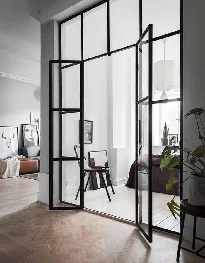 Verriere Interieure La Cloison Transparente Qui A Tout Pour Plaire Deco Maison Petit Appartement Portes Vitrees Interieures
