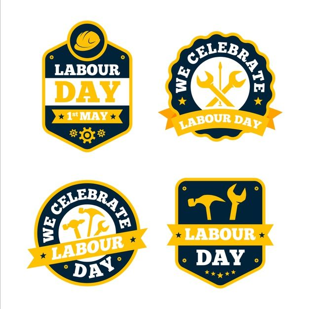 Hand Drawn Labor Day Badge Collection: Download Flat Labour Day Label Collection For Free In 2020