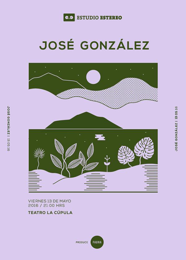 Art direction for a series of gig posters (José González, Kings Of Convenience, City and Colour), for the 2016 Estudio Estéreo concert cycle. The concerts were performed in 2016 in Santiago, Chile. #artdirection