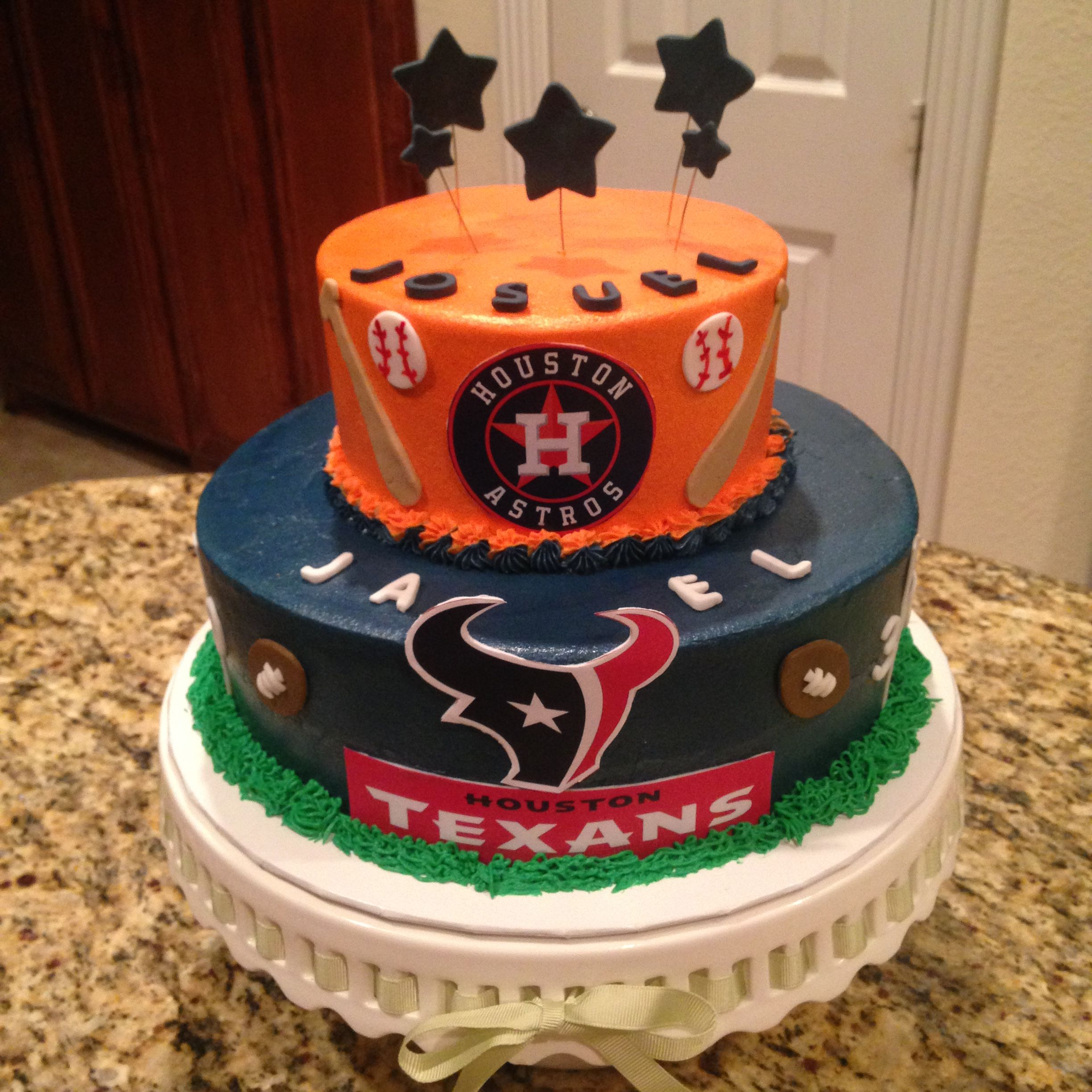 Phenomenal Houston Astros And Texans Cake S Facebook Com Birthday Cards Printable Giouspongecafe Filternl