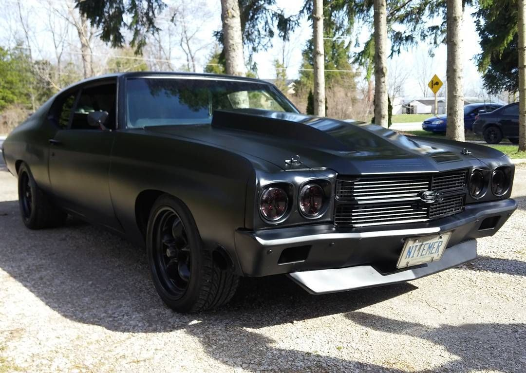 70 chevelle becausess twin turbo ls3 matte black painted bumpers spoiler trim boosted ls swapped