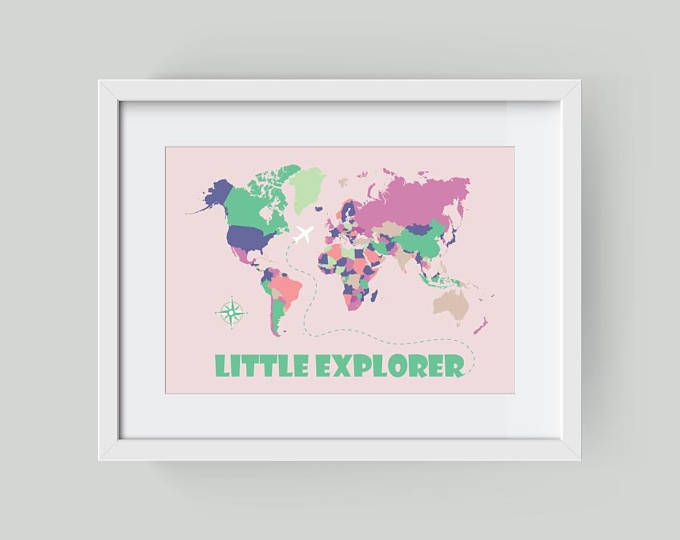 World Map Poster Educational Poster Little Explorer Nursery World - Pink world map poster