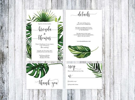 Wedding Invitation Template Tropical Wedding Invitation Theme