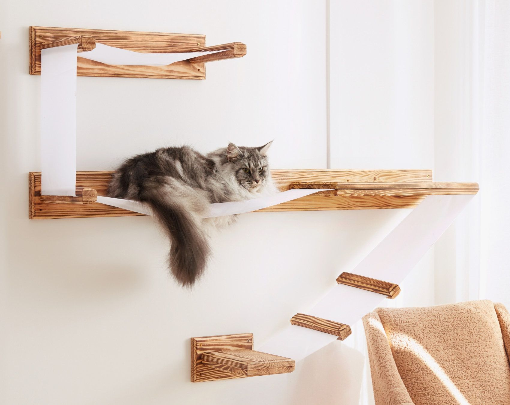 Large Wall Mounted Cat Shelf Play Platform With Bed Solid Wood