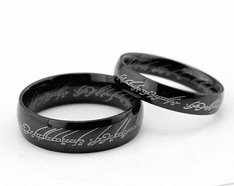2pcs Black Lord of the rings titanium rings Wedding Couples Rings
