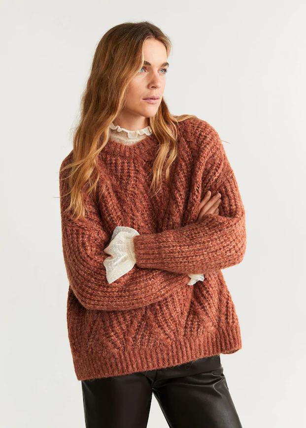 Jersey punto grueso - Mujer | Mango España | Suéteres femeninos, Suéter tejido, Punto grueso