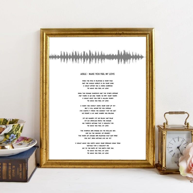 Adele Make You Feel My Love Song Sound Wave Print Song Lyric