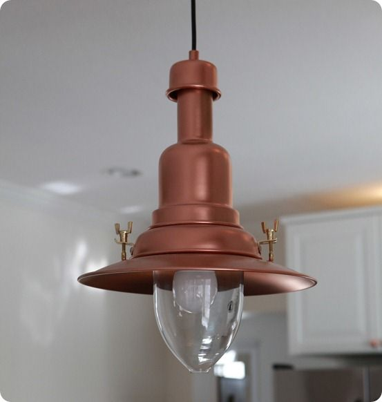 DIY Home Decor   Knock Off Copper Barn Light Using Ikea Pendant
