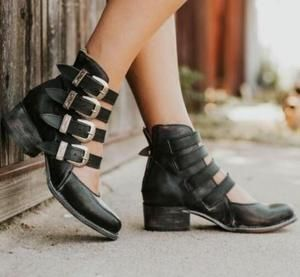 a8b39322f Women Ankle Boots Cut Out Shoes Chunky Mid Heels Booties - ILYMIX  Accessories