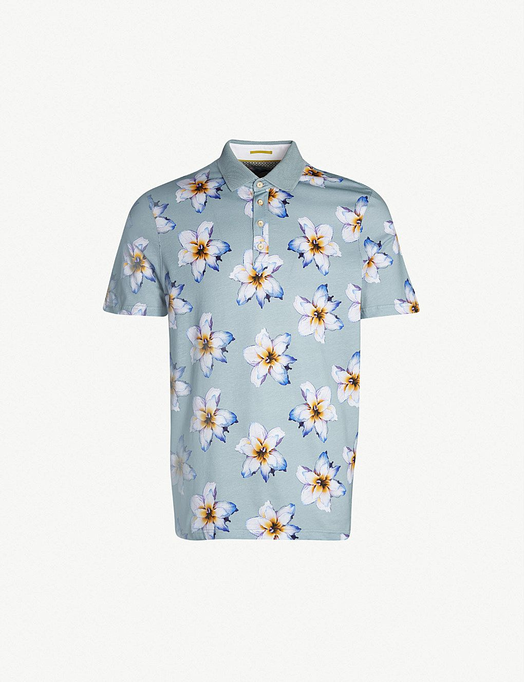 7a9ee3ad9 TED BAKER Floral-print cotton-jersey polo shirt in 2019