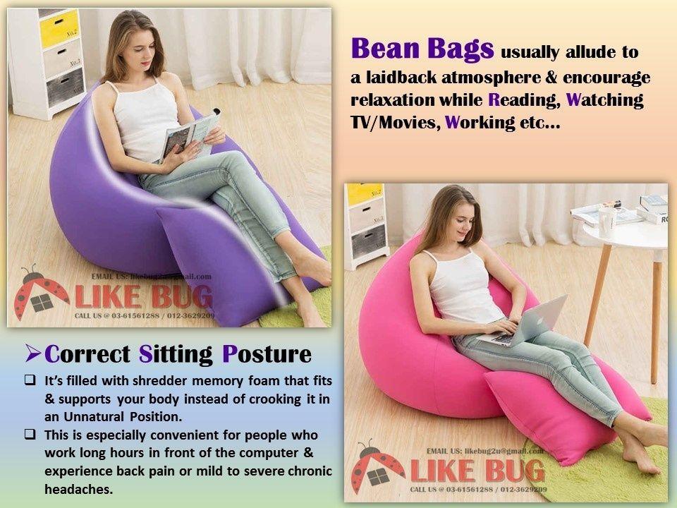 ⭐️ [1 SET] LIKE BUG Comfy Fabric Large Bean Bag Sofa with