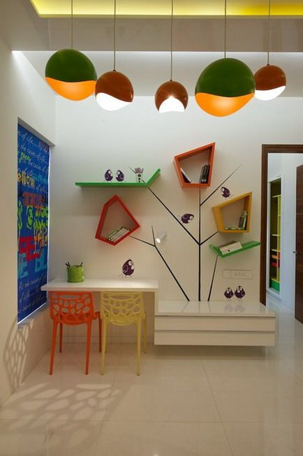 Kids Study Room Design: Amazing Lighting And Colorful Study Table Furniture Sets