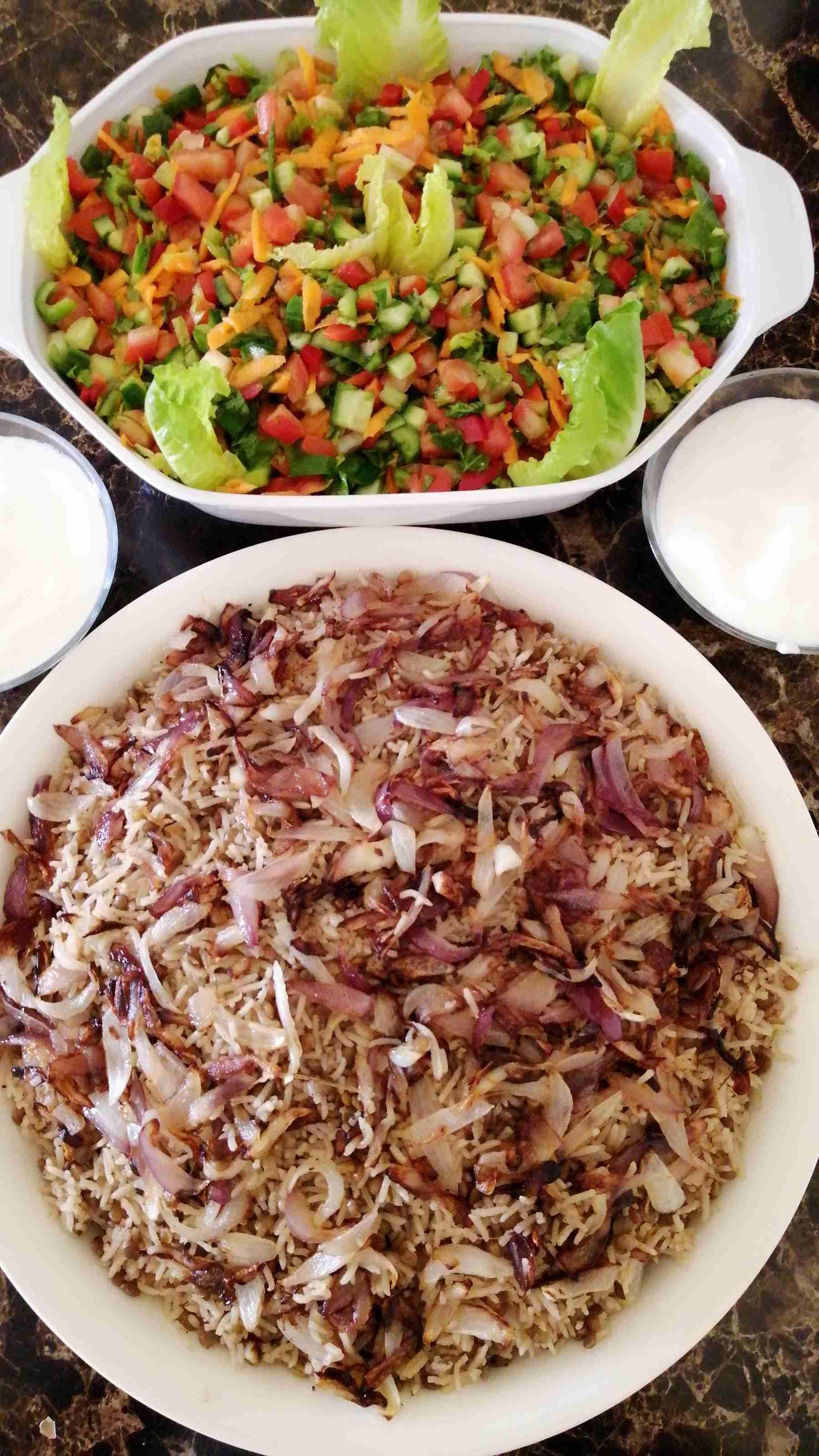 طريقة مجدرة رز Middle Eastern Recipes Food Persian Food
