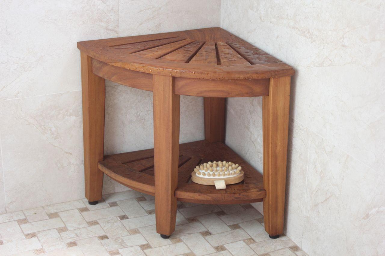 The Original 15 5 Kai Corner Teak Shower Bench With Shelf Teak