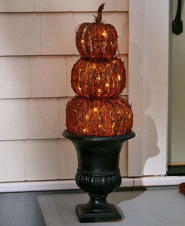 Rattan Lighted Triple Stacked Pumpkins Halloween Decorations Decor - halloween lighted decorations
