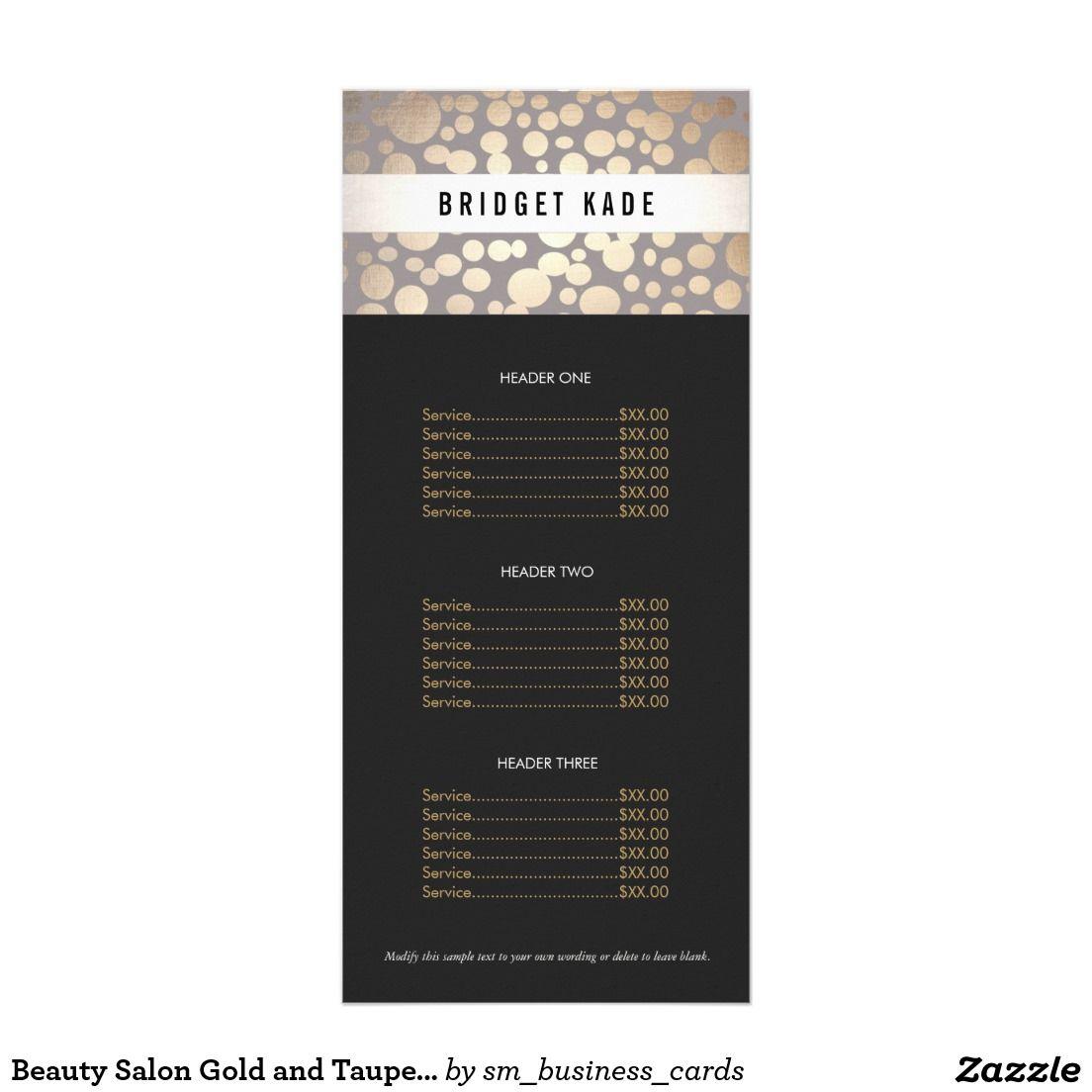 Beauty Salon Gold And Taupe Spotted Pattern Menu  Salon Gold