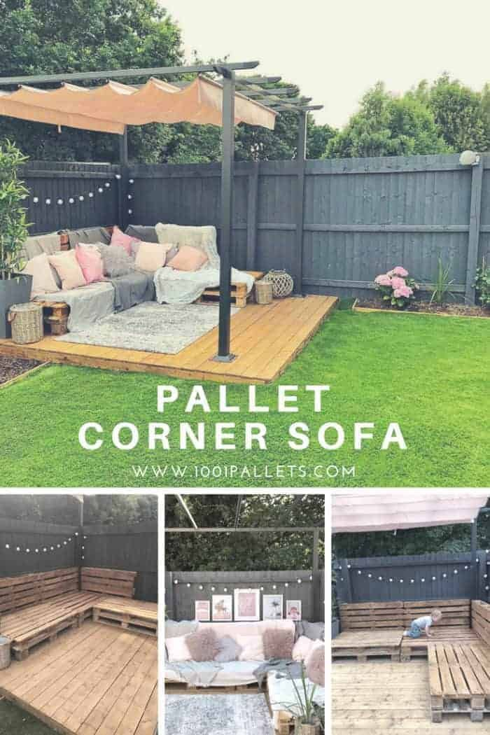 Easy Pallet Corner Sofa Pallet Garden Furniture Diy Garden Furniture Pallet Furniture Outdoor