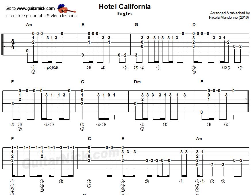 #Hotel California Guitar : Hotel California - fingerstyle acoustic guitar tab 1 : Guitar stuff ...