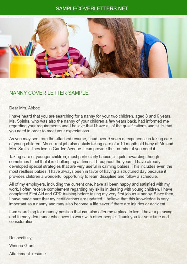 The Nanny Cover Letter is a very important document that is - nanny resume cover letter