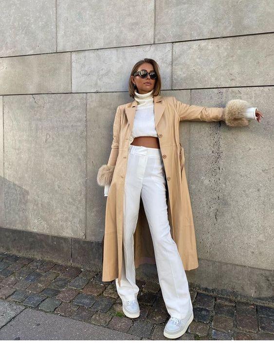 Grey trench, black pants - Miladies.net   Fashion, Startup