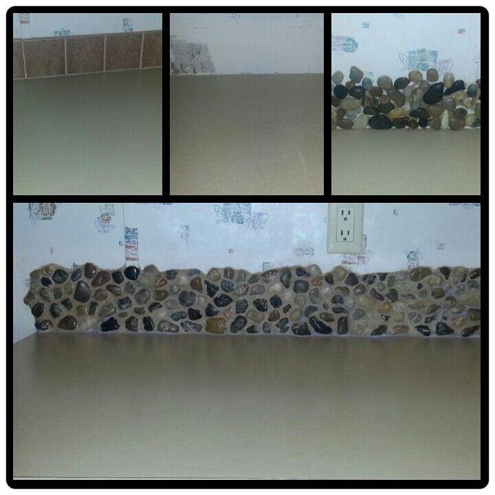 River Rock Backsplash I Did This In My Kitchen I Used Liquid
