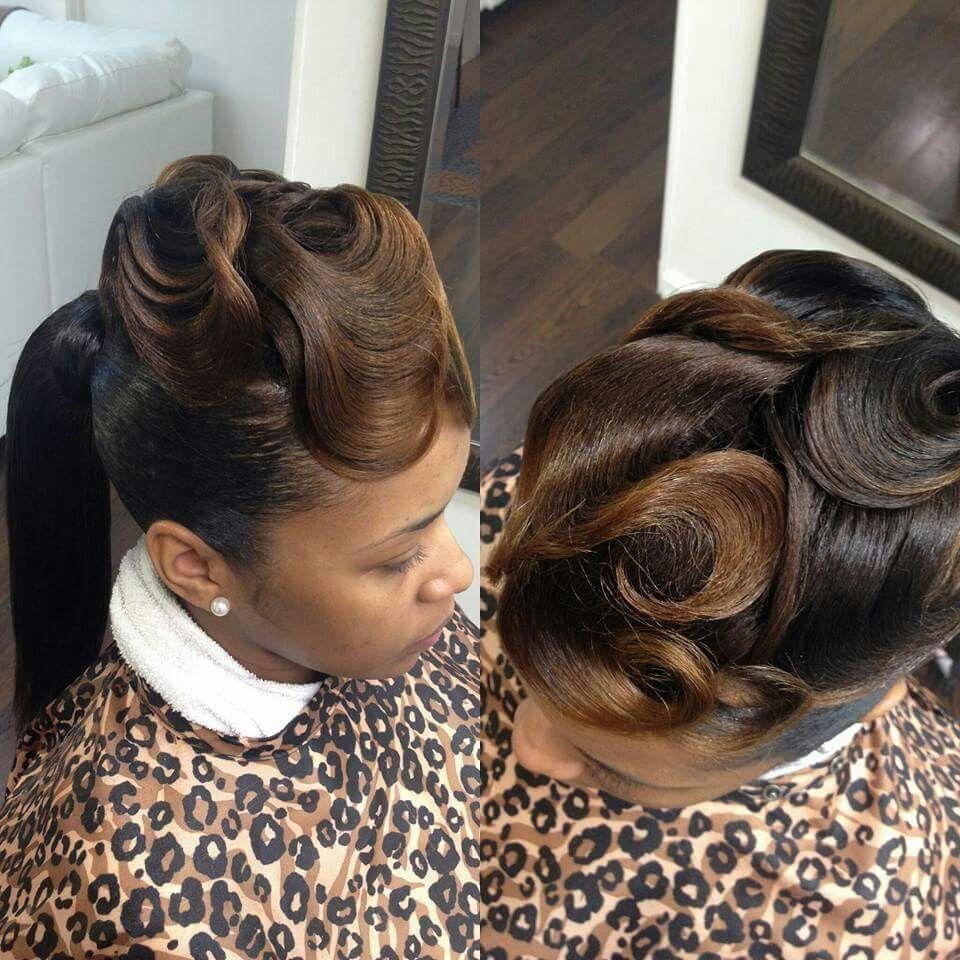 Fingerwave fingerwave pinterest hair style ponytail and black