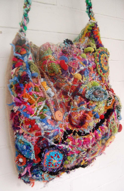 Freeform Crochet Bag and a visit to a Kaffe Fassett Seminar ...