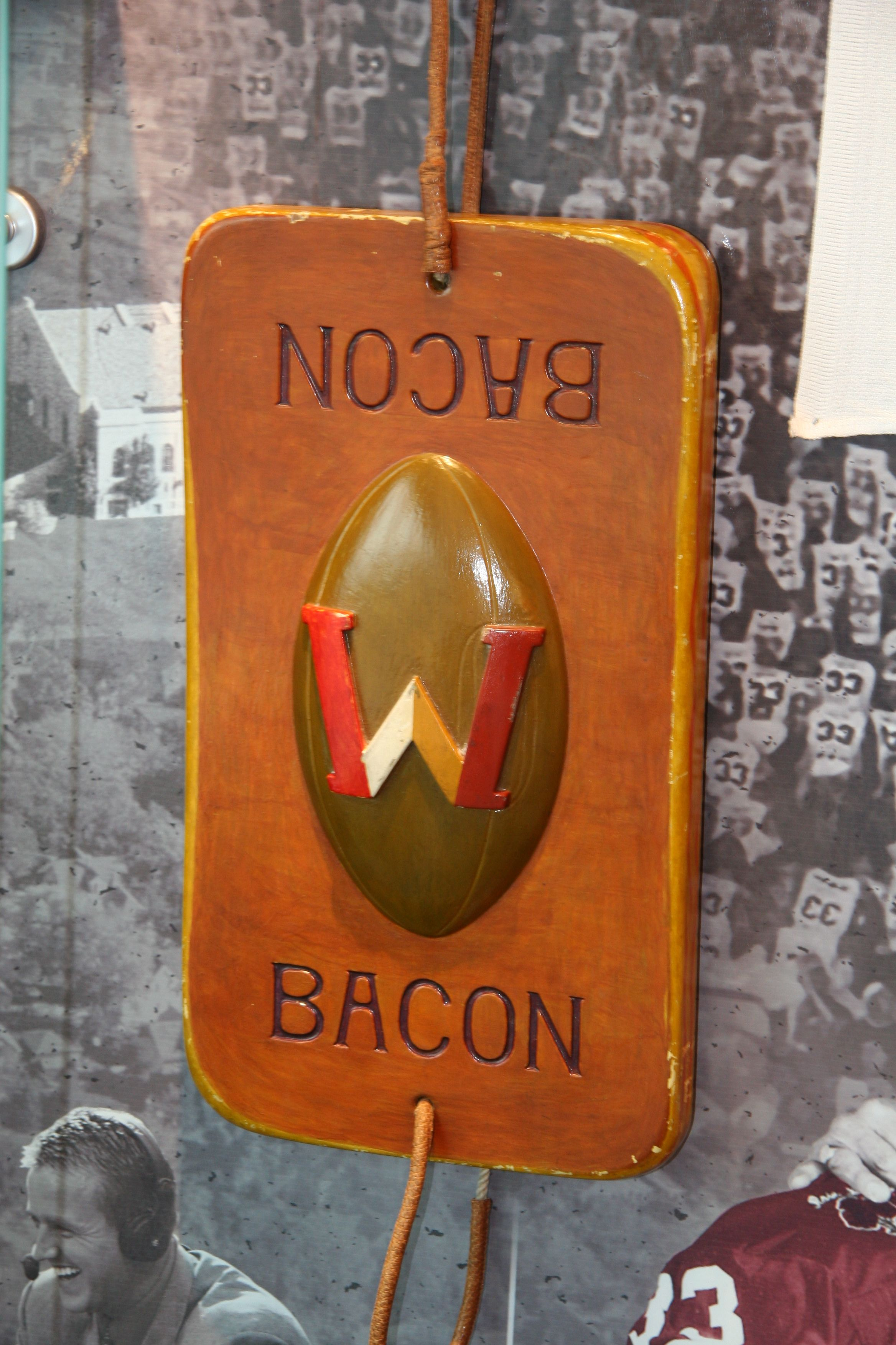 Slab Of Bacon Trophy Given To The Wisconsin Vs Minnesota Football Game Winner Along With The Axe Minnesota Football Gopher Sports Wisconsin Badgers