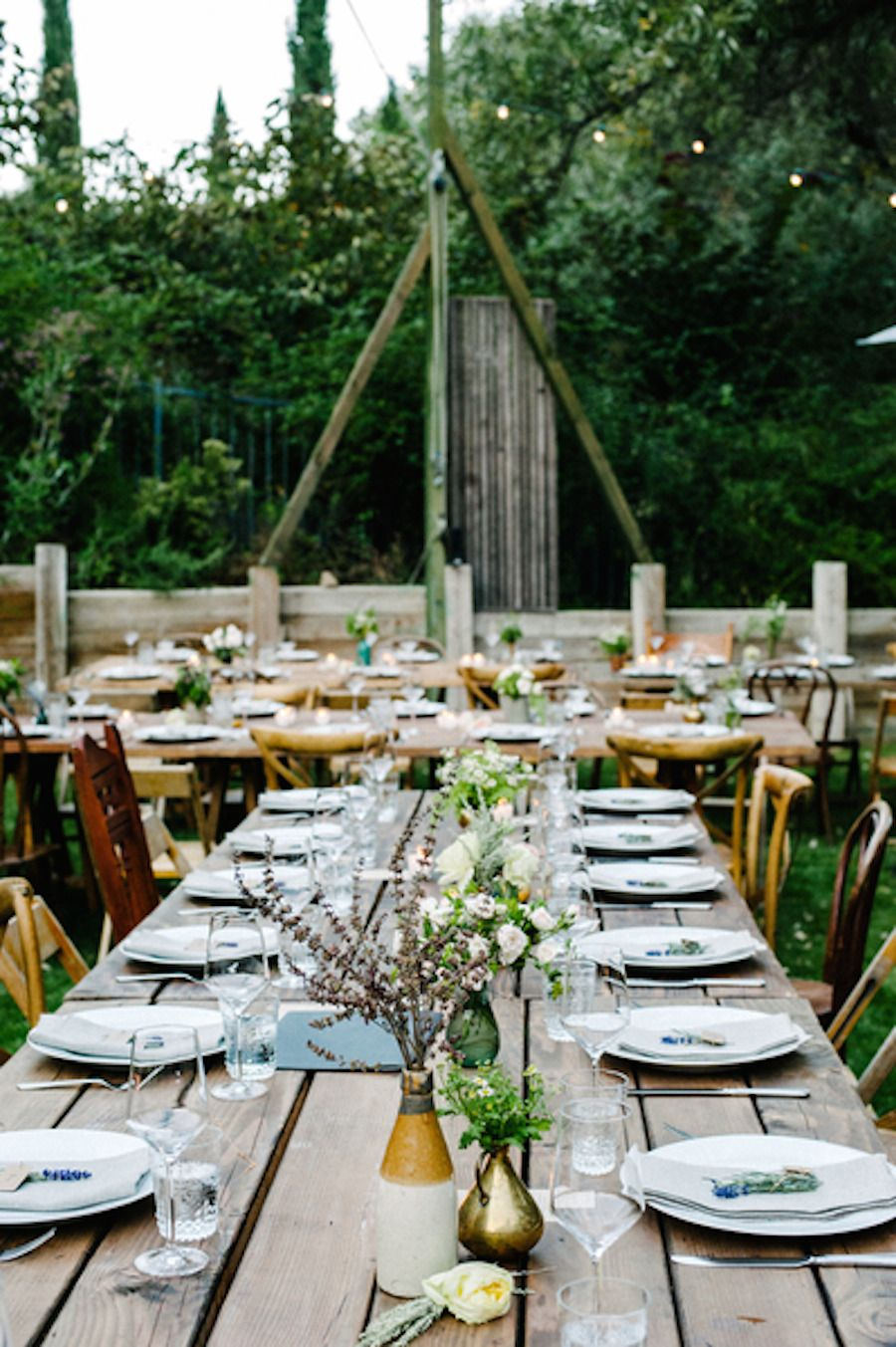 #place-settings, #tablescapes, #outdoor-dinner-party  Photography: Amy/Docuvitae - www.docuvitae.com/  Read More: http://www.stylemepretty.com/2014/11/05/boho-al-fresco-wedding-in-topanga-canyon/