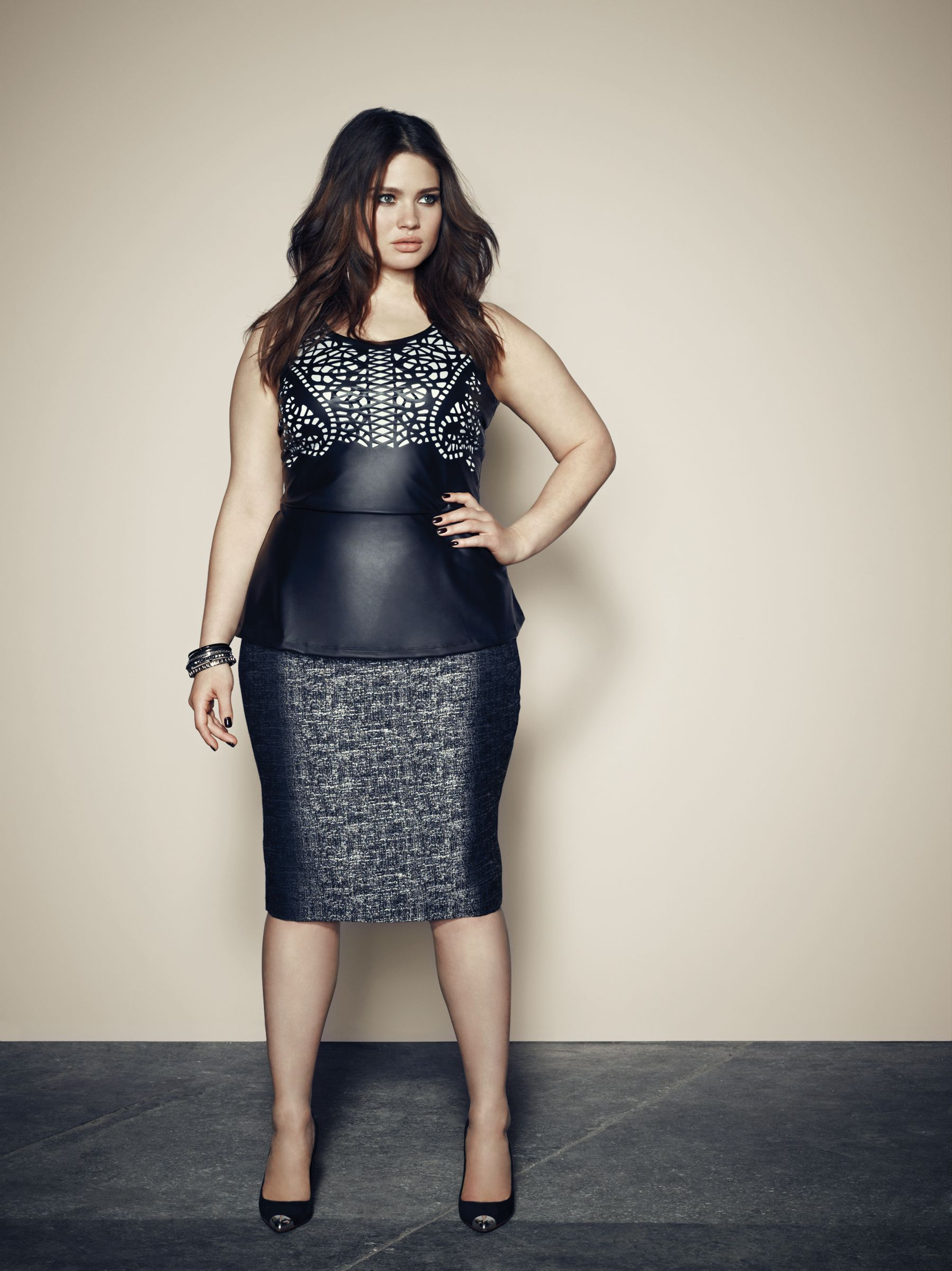 8ac95ca955086 Addition Elle plus size peplum top with cutouts and pencil skirt. Más