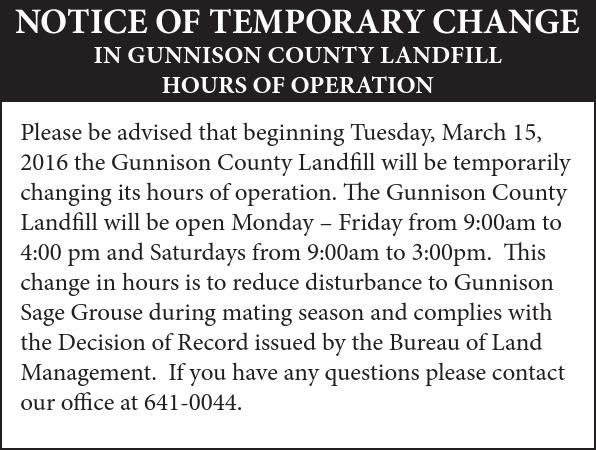 Notice Of Temporary Change In Gunnison County Landfill