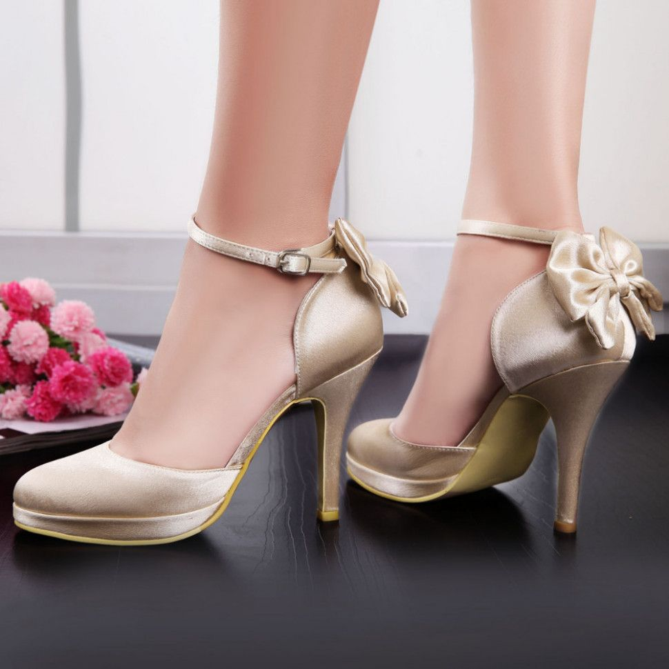 Champagne wedding shoes ankle straps wedding shoes ankle