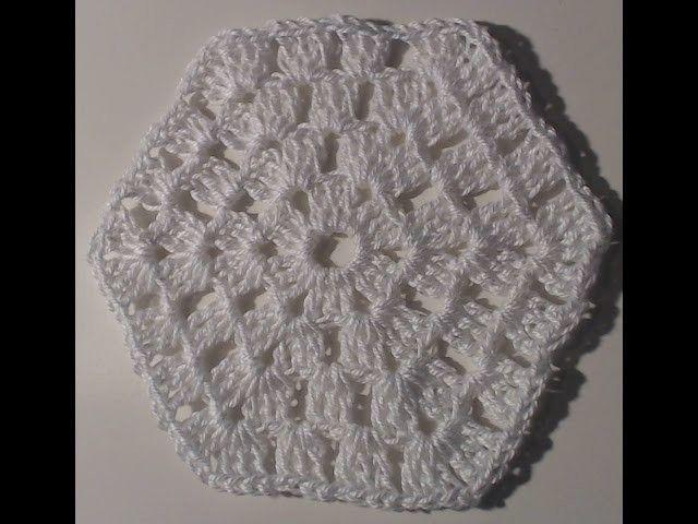 Piastrella n°5 forma esagono tutorial uncinetto granny square