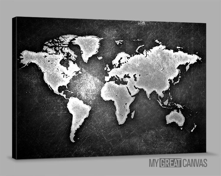Metalic black and white world map large wall art canvas prints metalic black and white world map large wall art canvas prints wall art map canvas large size gumiabroncs Images