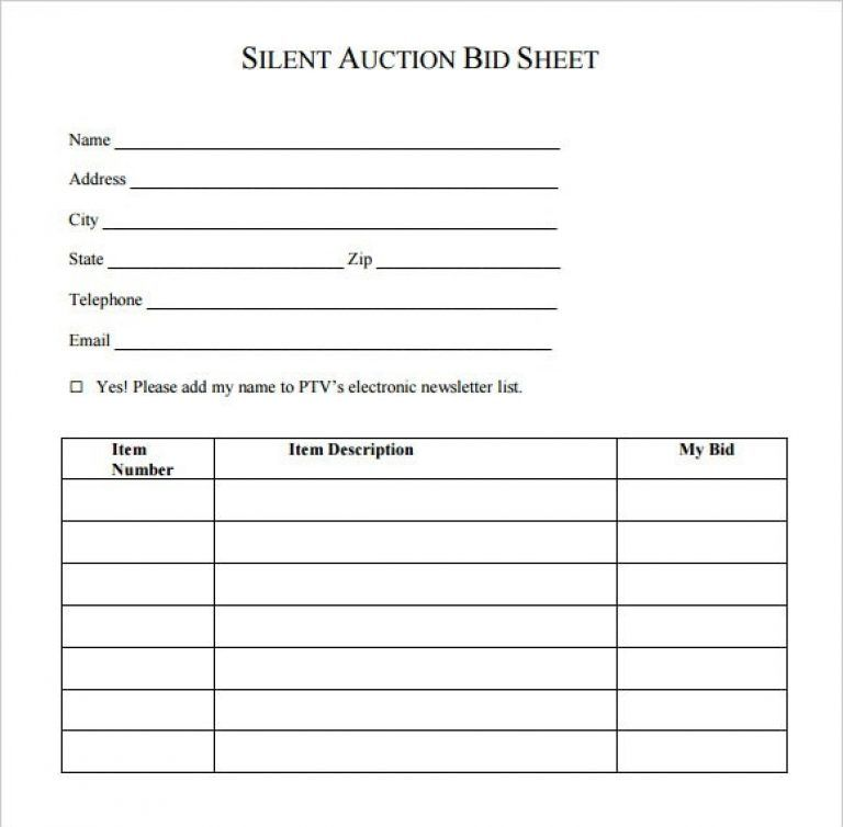 picture regarding Free Printable Bid Sheets known as Tranquil Auction Bid Sheet Template - 17+ Down load No cost