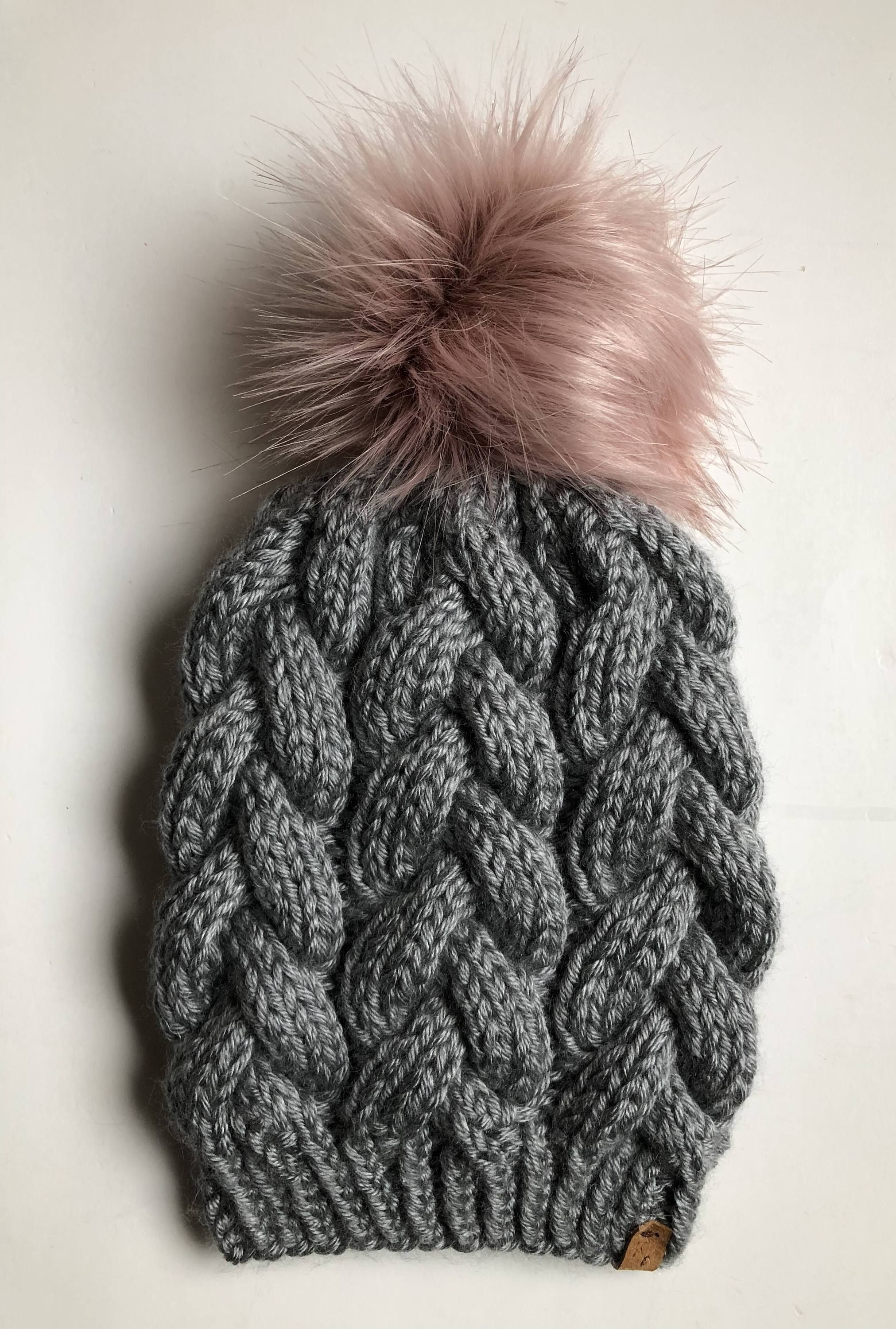 3dcfaba243893 Hand Knit Braided Cable Beanie Grey Heather with Faux Fur Pom ...