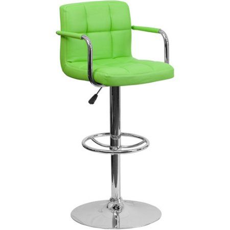 Contemporary Quilted Vinyl Adjustable Height Barstool with Arms and Chrome Base, Set of 2, Multiple Colors, Green