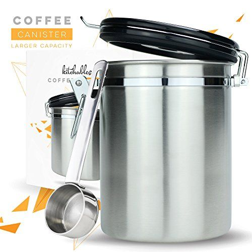 Coffee Canister Large Air Seal Set With Scoop Stainless Steel Kitchen Storage Container Airfresh Valve