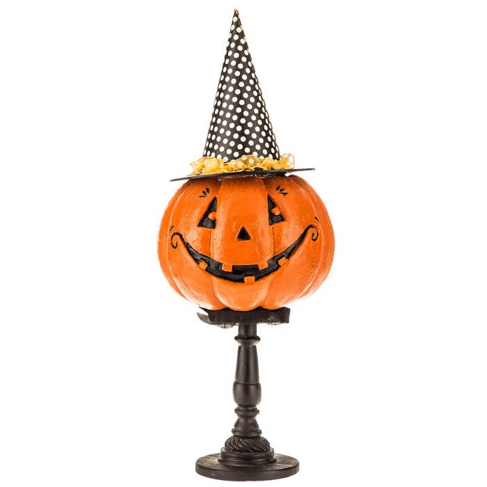 Jack-O-Lantern Decor on Pedestal Country Primitive Vintage Style - hobby lobby halloween decorations